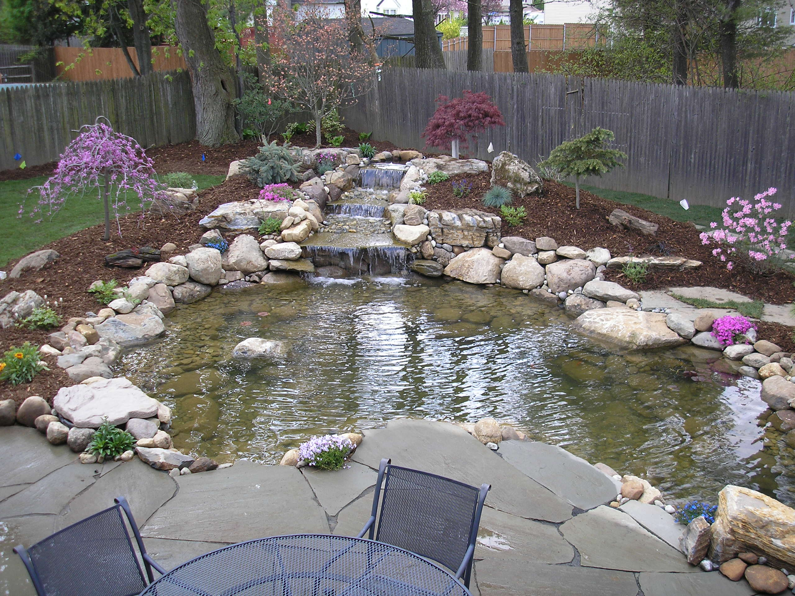 Ideas for garden fish ponds details home landscaping for Fish pond waterfall ideas